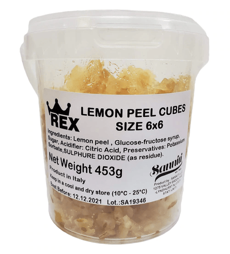 Candied Lemon Peel Cubes, by Rex 1 lb - [Premium Italian Food at Home ]