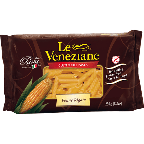 Italian Gluten Free Pipe Rigate Corn Pasta by Le Veneziane - 8.8 oz. - [Premium Italian Food at Home ]