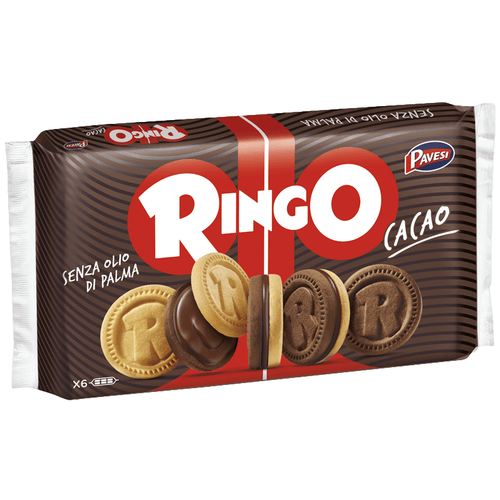 Ringo Cacao Cookies with Chocolate Cream by Pavesi (6 packs) - 11.6 oz - [Premium Italian Food at Home ]