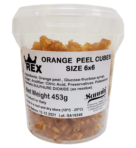Candied Orange Peel Cubes, by Rex 1 lb - [Premium Italian Food at Home ]