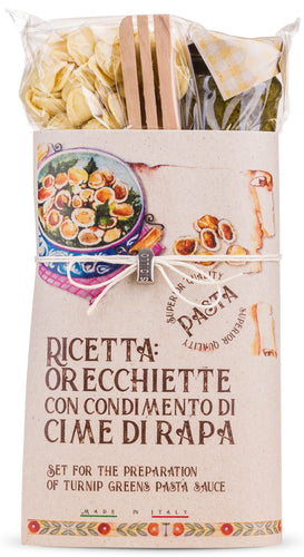 Orecchiette Pasta with Broccoli Rape Green Sauce Gift Set  By Casarecci Di Calabria - [Premium Italian Food at Home ]