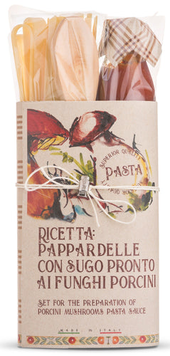 Pappardelle with Porcini Mushroom Pasta sauce gift set with wooden spoon by