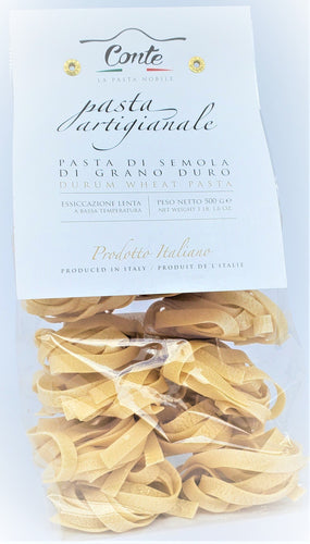 Artisanal Pappardelle Pasta 100% Durum Wheat Pasta by Pastificio Conte 500gr - [Premium Italian Food at Home ]