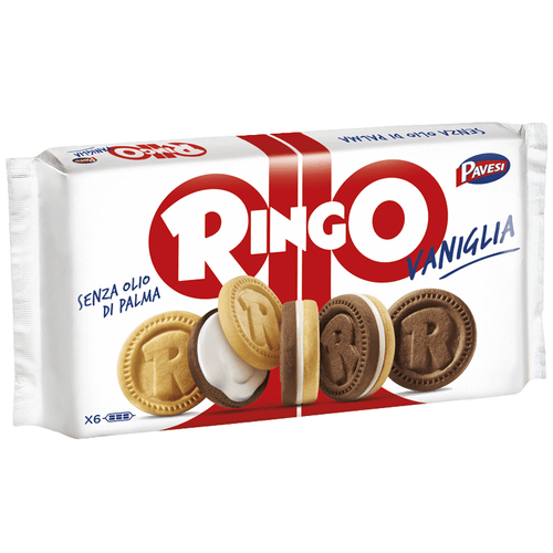 Ringo Vaniglia Cookies with Vanilla Cream by Pavesi (6 packs) - 11.6 oz - [Premium Italian Food at Home ]