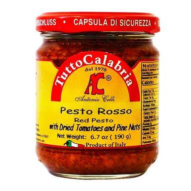 Red Pesto with Dried Tomatoes and Pine Nuts, by Tutto Calabria 6.7 oz (190 g) - [Premium Italian Food at Home ]