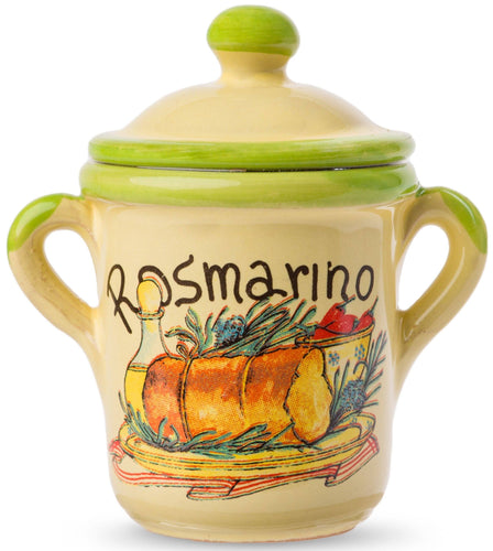 Dried Italian Rosmary in a little Terracotta Crock by Casarecci di Calabria - 0.17 oz - [Premium Italian Food at Home ]