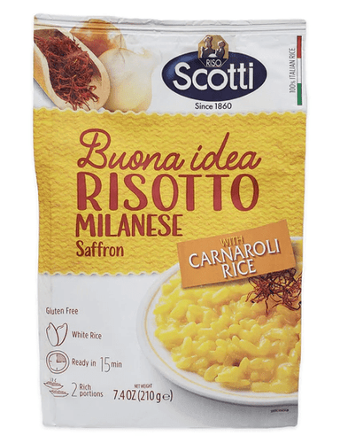 Risotto Milanese Saffron with Carnaroli Rice, by Scotti 7.4 oz - [Premium Italian Food at Home ]