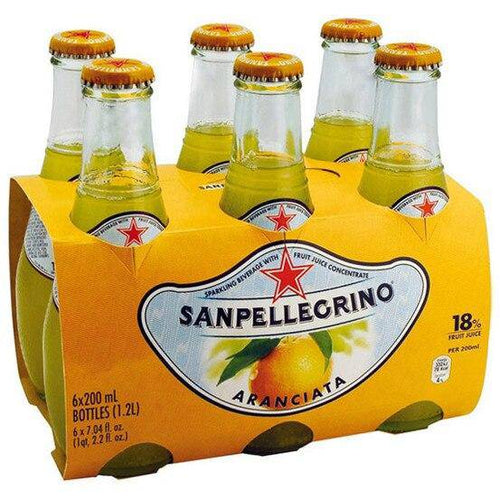 San Pellegrino Aranciata Glass organic 6.8oz pack of 4 - [Premium Italian Food at Home ]