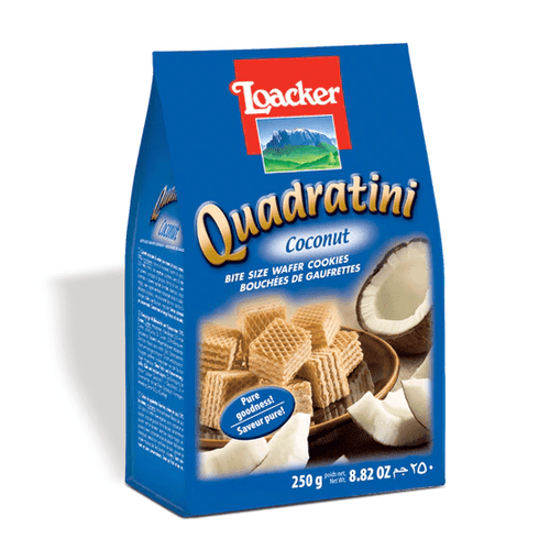 Quadratini Coconut Cube Waferss by Loacker 8.8 oz - [Premium Italian Food at Home ]