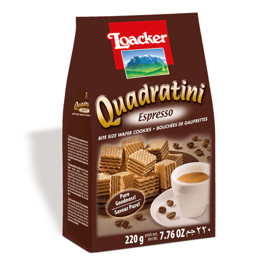Loacker Quadratini Espresso Cube Wafers, 7.7 oz - [Premium Italian Food at Home ]