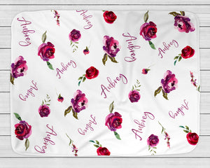 Personalized Baby Blanket with Watercolor Roses