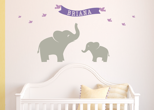 Name Decal with Name Banner and Birds Wall Decal Set