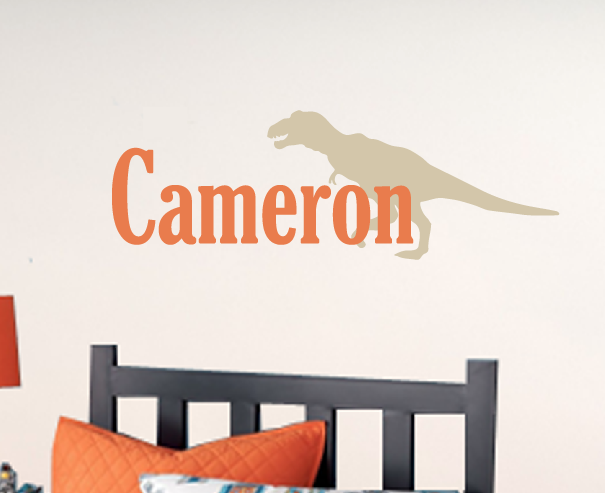 T rex name decal dinosaur wall decal boy bedroom decor for T rex bedroom decor