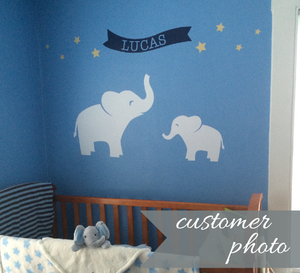 Elephant Banner with Stars Name Decal Set
