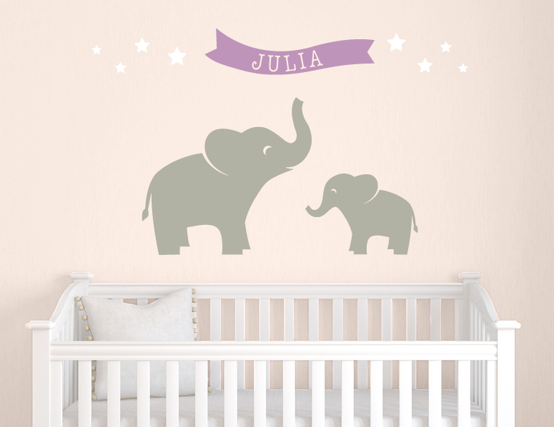 Elephant Wall Decal Set Stars Wall Decal Elephant Nursery - Nursery wall decals elephant