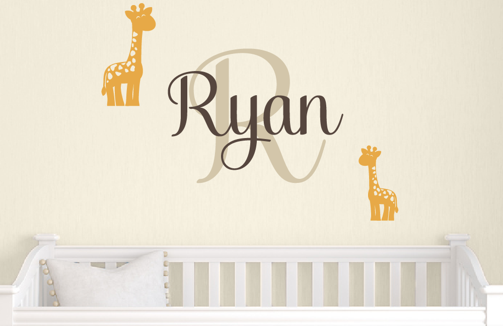 giraffe name wall decal - safari vinyl decals - baby boy