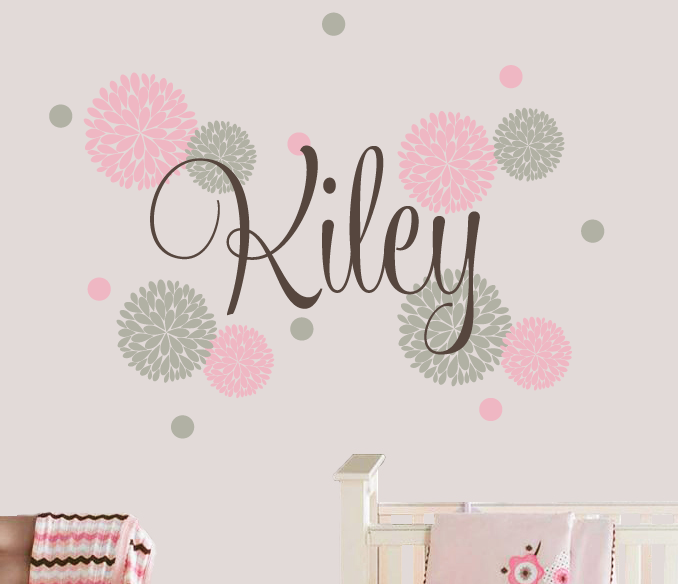 Name Decal Set with Flowers & Polka Dots