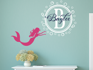 Mermaid with Name & Bubble Monogram Decal Set