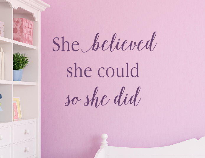 Motivational Wall Decals, She Believed She Could Wall