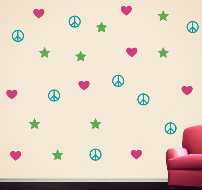 Wall Decal Set with Peace Signs, Stars, & Hearts