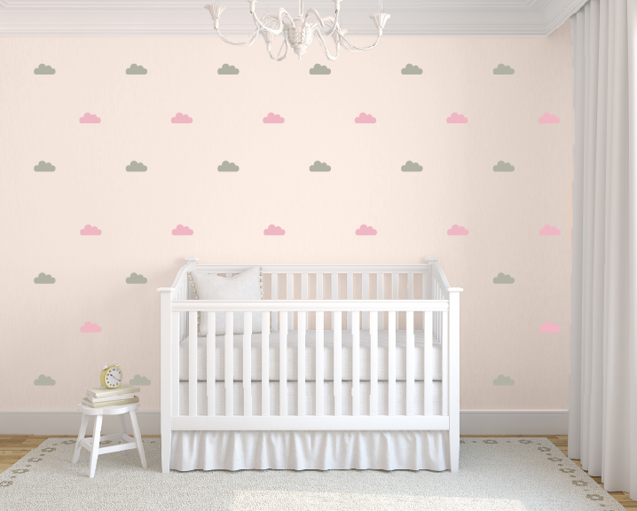 tiny clouds wall decals, little clouds wall stickers, childrens wall