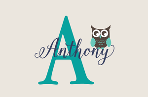 Name Decal with Monogram & Owl