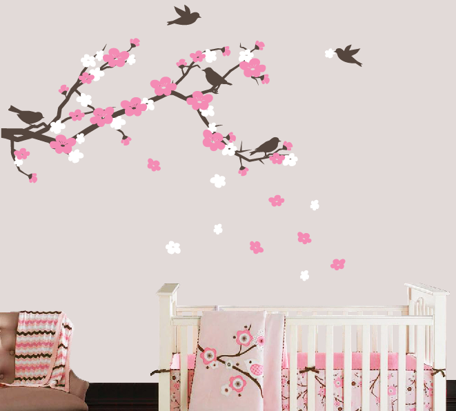 769d066bab Cherry Blossom Branch and Birds Wall Decal, Cherry Blossom Wall Decals, Nursery  Wall Decals, Kids Vinyl Decal Set, Baby Girl Nursery Decor - ...