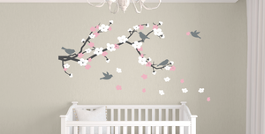 Cherry Blossom Branch and Birds Wall Decal Set