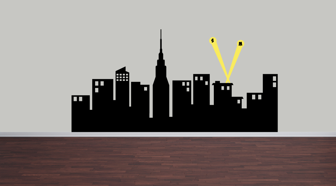 "Super Hero City Skyline Wall Decal - 72"" wide"