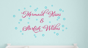 Mermaid Kisses & Starfish Wishes Wall Decal Set with Bubbles