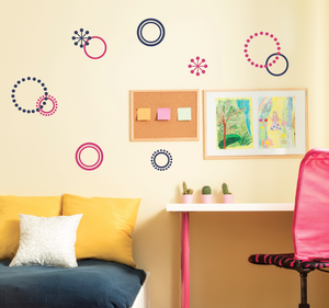 Retro Circle Wall Decal Set