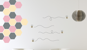 Honeycomb with Bees & Trails Wall Decal Set
