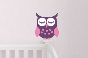 "Sale! Sleepy Owl in Violet and Soft Pink - 7"" tall"