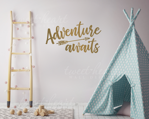 Adventure Awaits Vinyl Decal Gold