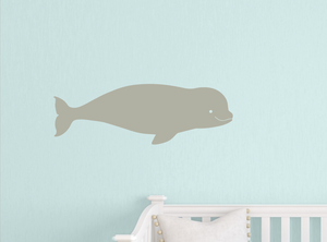 Baby Beluga Wall Decal Warm Grey