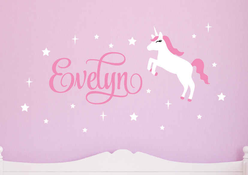 Unicorn Wall Decal Set - White & Soft Pink