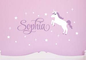 Unicorn Wall Decal Set - White & Lilac