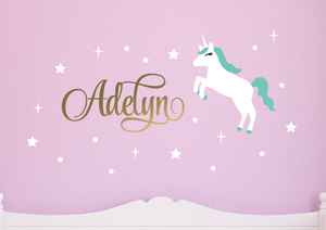 Unicorn Wall Decal Set - White, Metallic Gold, Mint