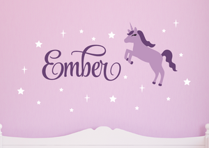 Unicorn Wall Decal Set - White, Violet, Lilac