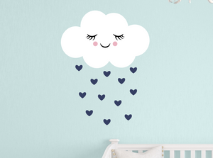 happy cloud decal - navy blue