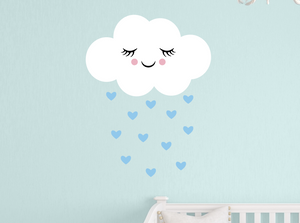 happy cloud decal - powder blue