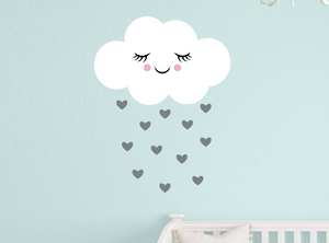 happy cloud decal - grey