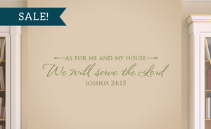 ON SALE, Olive, As for me and my house, We will serve the Lord - Joshua 24:15