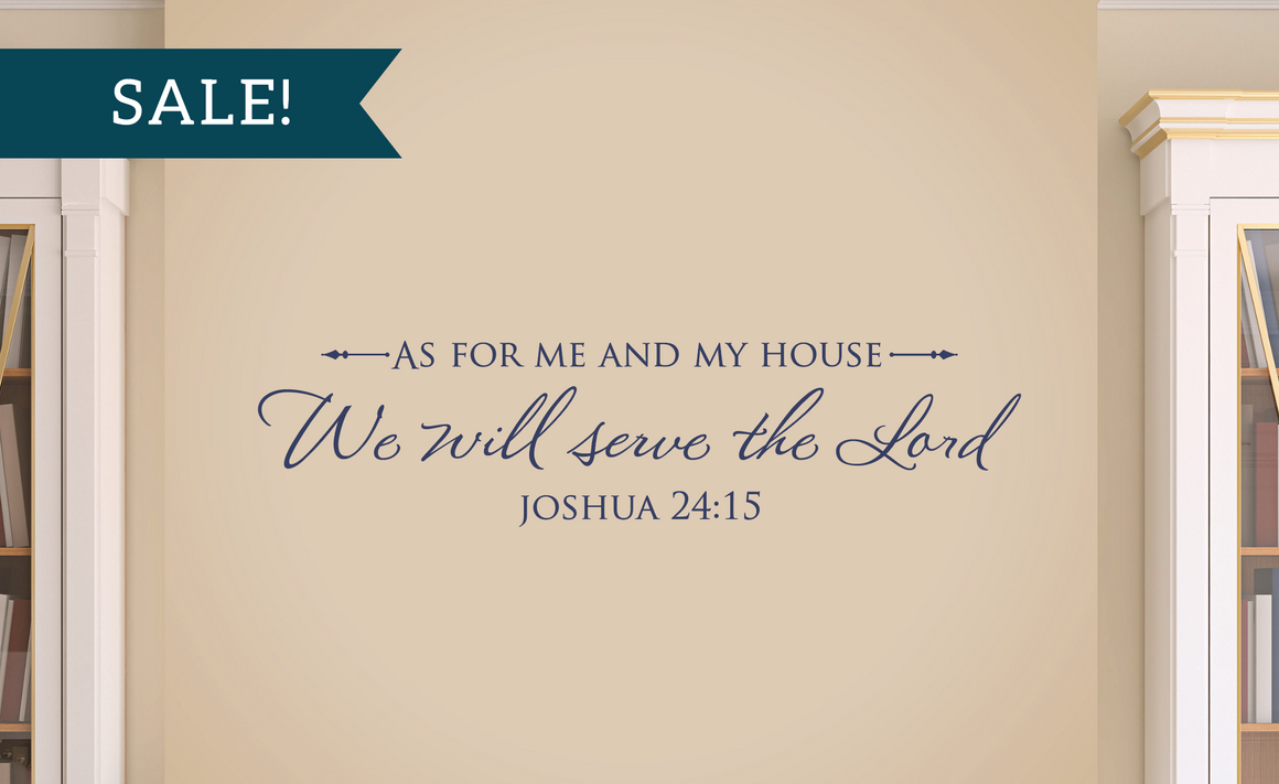 ON SALE, Navy Blue, As for me and my house, We will serve the Lord - Joshua 24:15