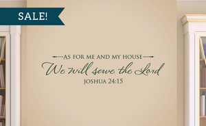 ON SALE, Dark Green, As for me and my house, We will serve the Lord - Joshua 24:15