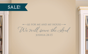 ON SALE, Grey, As for me and my house, We will serve the Lord - Joshua 24:15