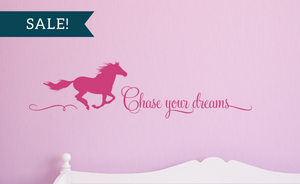 ON SALE, Dark Pink, Chase Your Dreams Vinyl Wall Decal, Horse Vinyl Decal
