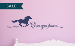 ON SALE, Navy Blue, Chase Your Dreams Vinyl Wall Decal, Horse Vinyl Decal