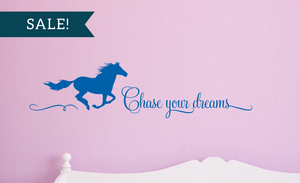 ON SALE, Gentian, Chase Your Dreams Vinyl Wall Decal, Horse Vinyl Decal