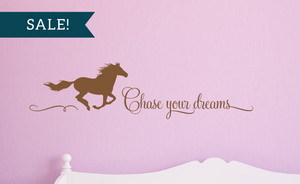 ON SALE, Metallic Copper, Chase Your Dreams Vinyl Wall Decal, Horse Vinyl Decal